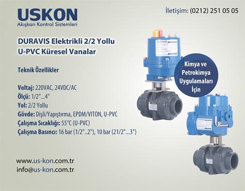 DURAVIS Elektrikli 2/2 Yollu U-PVC Küresel Vanalar