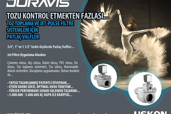 Tozu Kontrol Etmekten Fazlası…Toz Toplama ve Jetpulse Filtre Sistemleri için DURAVIS Patlaç Valfler