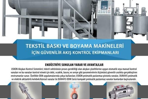 Tekstil Baskı ve Boyama Sistemleri / Makineleri İçin Akış Kontrol Vana ve Ekipmanları