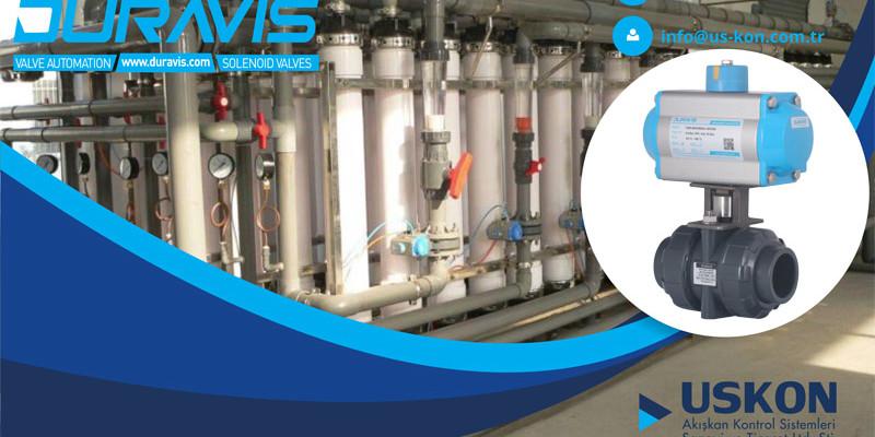 Arıtma Prosesleri için DURAVIS Pnömatik Aktüatörlü U-PVC Küresel Vanalar