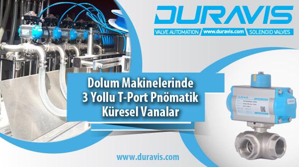 DURAVIS 3 Yollu T-Port Pnömatik Paslanmaz Küresel Vanalar ve Dolum Makinesi Uygulaması