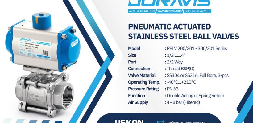 DURAVIS Pneumatic Actuated Stainless Steel Threaded Ball Valves